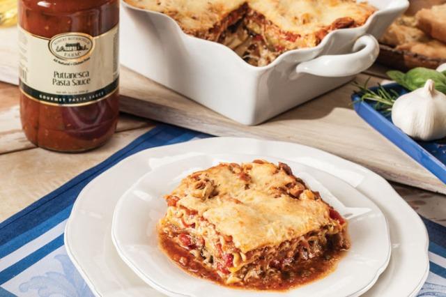 Vegetable Lasagna w Puttanesca Sauce
